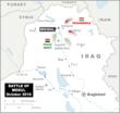 Infographic van Mosul in Irak, met de posities van het Iraakse leger en de Koerdische Peshmerga