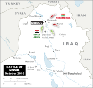 Infographic of Mosul within Iraq