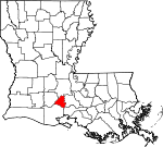 State map highlighting Lafayette Parish