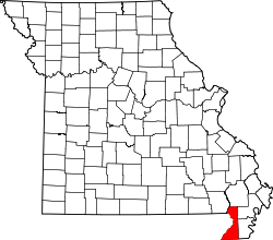 Map of Missouri highlighting Dunklin County.svg
