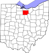 State map highlighting Huron County