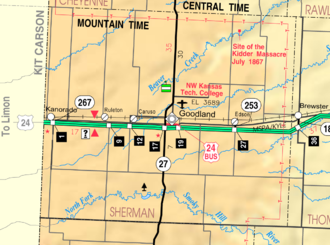 Goodland, Kansas - Image: Map of Sherman Co, Ks, USA