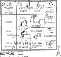 Municipalities and townships of Wayne County.