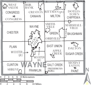 Wayne County, Ohio - Map of Wayne County, Ohio with municipal and township labels