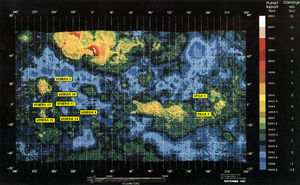 Venera - Location of Soviet Venus landers. Map based on mapping from space probe Pioneer Venus Orbiter.