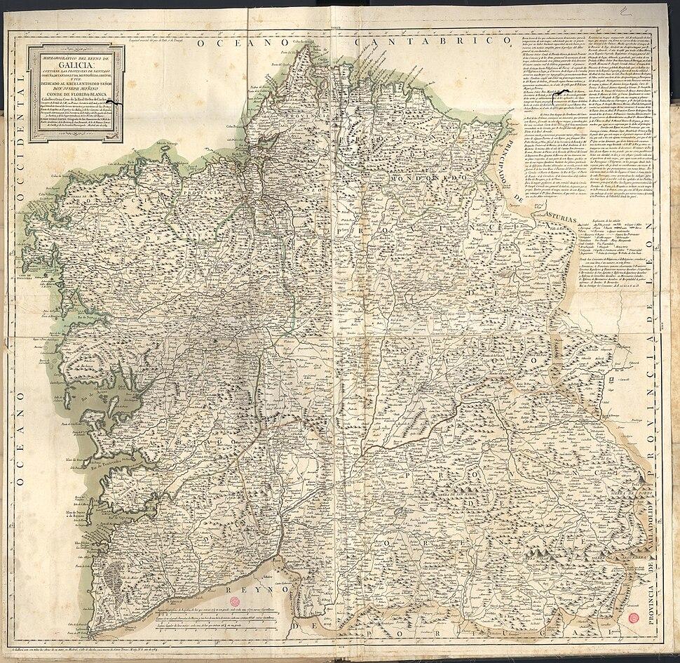 Mapa geográfico del Reyno de Galicia 1784