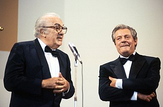 Marcello Mastroianni - Mastroianni (right) and Federico Fellini in 1990