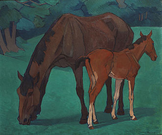 Camden Town Group - Robert Polhill Bevan. Mare and Foal, 1917