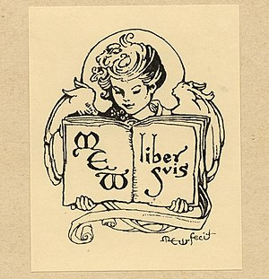 Margaret Ely Webb - One of Webb's own self-made bookplates.