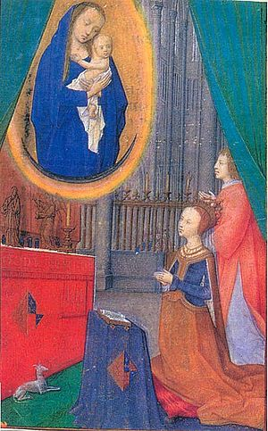 Hours of James IV of Scotland - The miniature of Margaret at prayer (frame not shown), f. 243v
