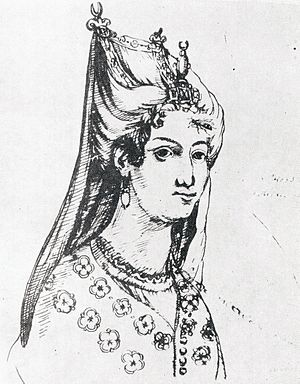 Mariam Dadiani - Mariam Dadiani. A drawing from the album of the contemporaneous Roman Catholic missionary Cristoforo Castelli, who lived in Georgia from 1627 to 1654.