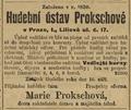 Marie Prokschová inzerát 1899.png