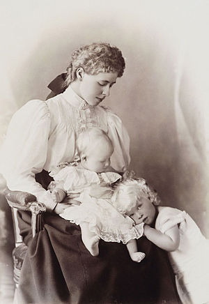 Elisabeth of Romania - Crown Princess Marie of Romania and her two older children, Carol and Elisabeth, ca. 1895.