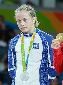 Mariya Stadnik at the 2016 Summer Olympics, Women's Freestyle Wrestling 48 kg awarding ceremony (cropped).jpg