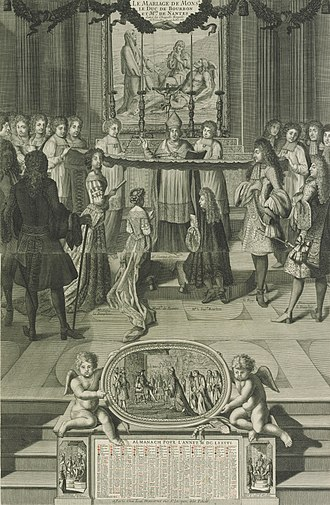 Louise Françoise de Bourbon, Duchess of Bourbon - The marriage of Mademoiselle de Nantes to the duc de Bourbon, Anonymous artist, 1685.