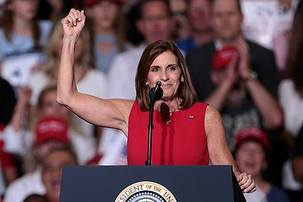 McSally speaking at a rally hosted by President Donald Trump in October 2018. Martha McSally (43627593770).jpg