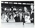 Mary Collins and Mayor John F. Collins sit before a crowd at Fenway Park (12461785285).jpg