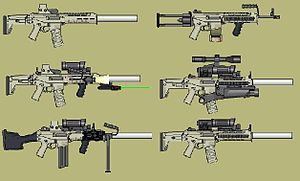 English: A grouping of custom-designed assault...