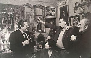 Victor Djorbenadze - Djorbenadze with Italian actor Mastroianni (left) and Armenian director Parajanov (right)