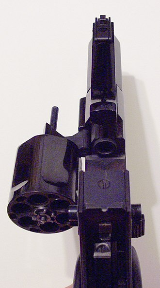 Mateba Autorevolver - Rear view of the Unica 6 with cylinder in open position.