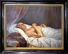 """""""Herzog Friedrich Wilhelm auf dem Totenbett"""" von Mathieu Ignace van Brée am 17. Juni 1815, einen Tag nach dem Tod des Herzogs, angefertigt. Gut zu erkennen, die Schussverletzung an der rechten Hand und das Einschussloch auf der rechten Seite. (Quelle: Wikimedia)"""