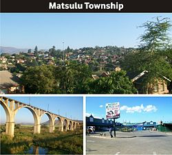 (Top): A view of Matsulu C, (bottom) Spoornet Train Bridge, Matsulu Shopping Complex