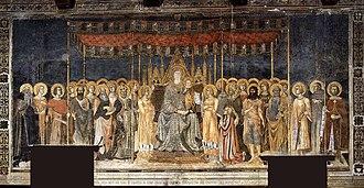 Lippo Memmi - Memmi's Maestà in the Sala di Dante of the Palazzo Comunale, San Gimignano