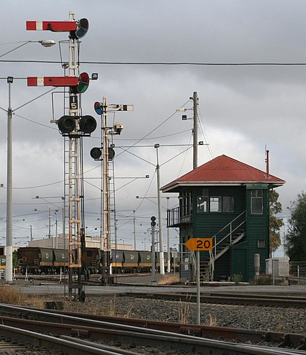 Former mechanical two-position semaphore signalling at North Geelong Mechanical-signalling-north-geelong.jpg
