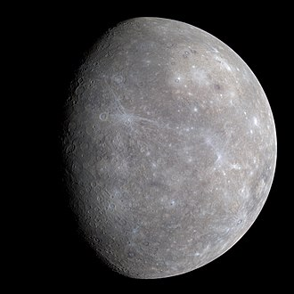 Mercury (planet) - Mercury in enhanced color, imaged by MESSENGER (2008)