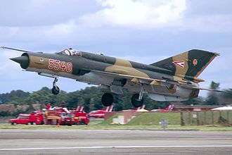 Mikoyan-Gurevich MiG-21 - Hungarian Air Force MiG-21bis on takeoff.