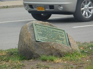 New York State Route 265 - A plaque along NY324 for the construction of Military Road.