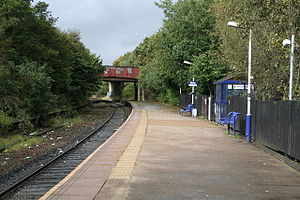 Milnrow tram stop - Image: Milnrow railway station Geograph 1519041 by Dr Neil Clifton