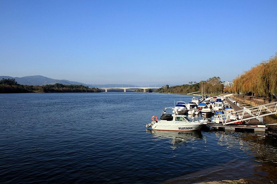 Minho River and port of Vila Nova de Cerveira, Portugal