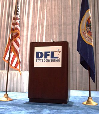 Minnesota Democratic–Farmer–Labor Party - DFL logo used on a lectern at the 2006 DFL state convention.