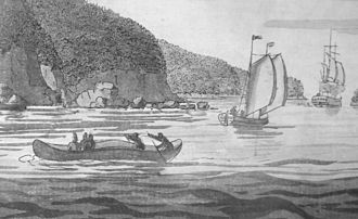 R v Marshall - The case recognized the traditional role of fishing in Mi'kmaq culture. Shown is a seagoing canoe used for fishing and transport. Atlantic Neptune, ca 1770