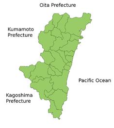 Карта префектуры Миядзаки
