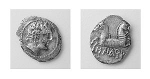 Ancient Iberian coinage - O: Male head right.