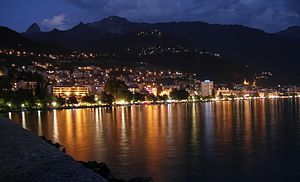 Montreux, Switzerland at night