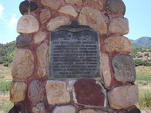 Salt Creek Canyon massacre - Monument of the Salt Creek Canyon massacre, in Salt Creek Canyon along SR-132