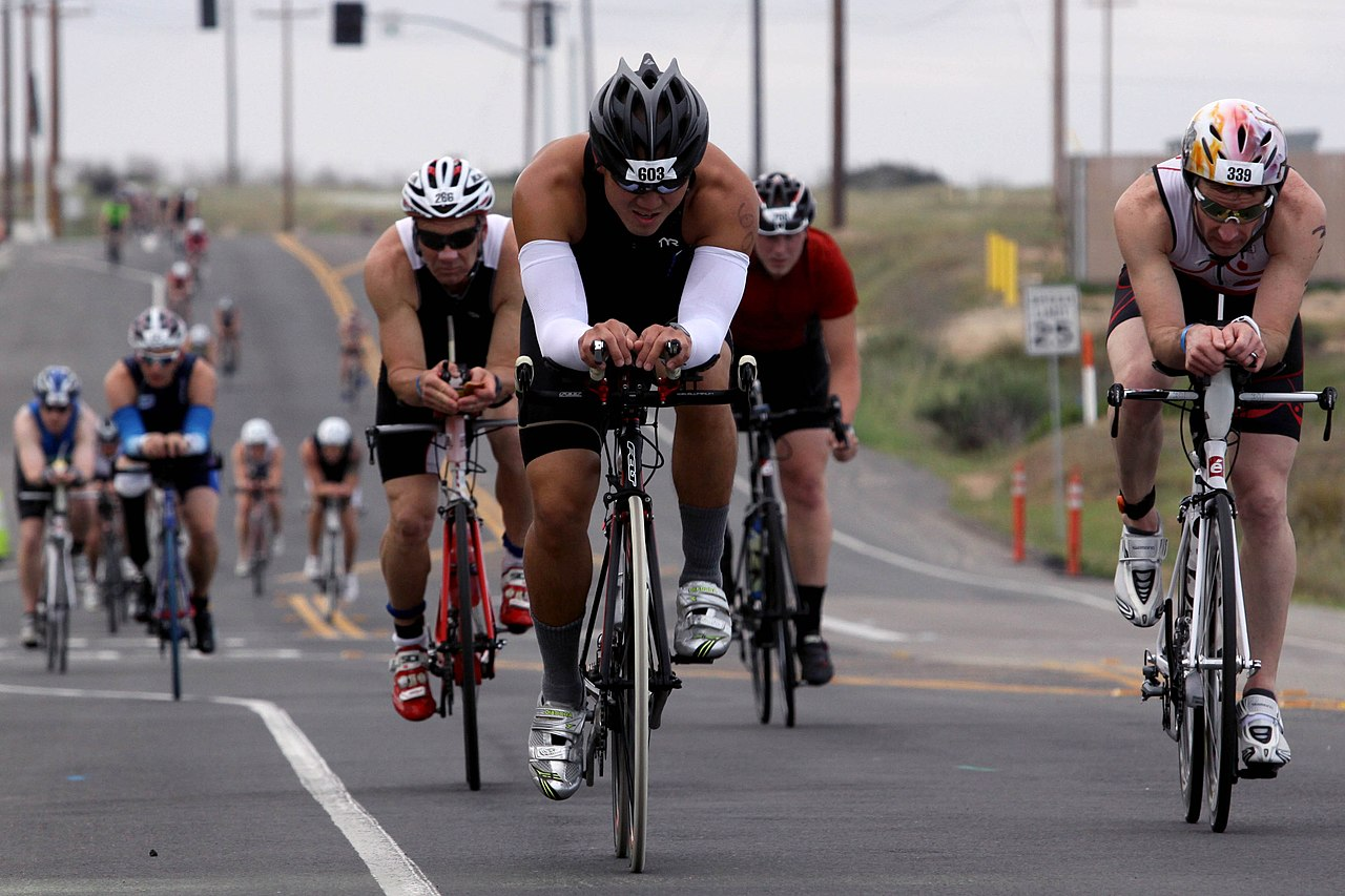 More than 2,400 Marines and civilians biked 56-miles through base during the Ironman 70.3 Triathlon at Oceanside, Calif., March 30, 2013 130330-M-LD192-533.jpg