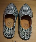 Moroccan babouche, green velvet with silver thread, 20th century - Bata Shoe Museum - DSC00124.JPG