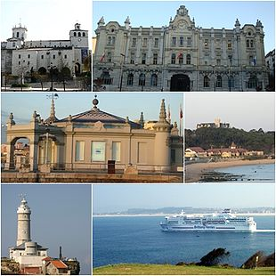 Top left: Assumption of the Virgin Mary Cathedral, Top right: Santander City Hall in Calle de los Escalantes, Middle left: Palacete del Embarcadero, Middle right: View of Sardinero Beach and Magdalena Palace, Bottom left: Cape Mayor Lighthouse, Bottom right: View of a ferry leave from Santander in Magdalena Peninsula