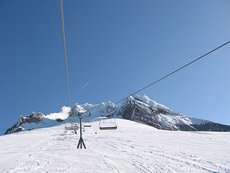Timberline Lodge ski area - The Palmer chairlift below the summit of Mount Hood