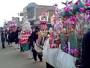 Barabanki district - Indian Shia Muslims take out a Ta'ziya procession on day of Ashura in Barabanki, India, Jan, 2009.