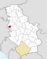 Location of the municipality of Krupanj within Serbia