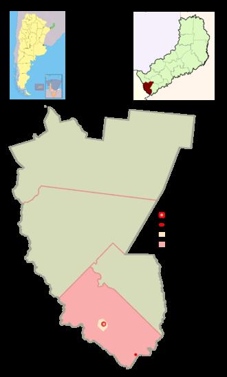 Azara, Misiones - The municipality and village of Azara in the province of Misiones, the small dot represents the town of Rincón de Azara