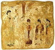 Nestorian priests in a procession, wall painting from the caves of Bezeklik
