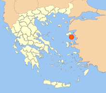 Map showing the location of Mytilene