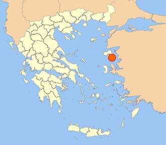 Theophanes of Mytilene - Location of Mytilene today, on the Greek island of Lesbos