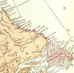 Dominion of Newfoundland - Map of Newfoundland in 1912. Note the border discrepancy regarding Labrador, something that would eventually be settled in Newfoundland's favour by the Judicial Committee of the Privy Council in 1927.